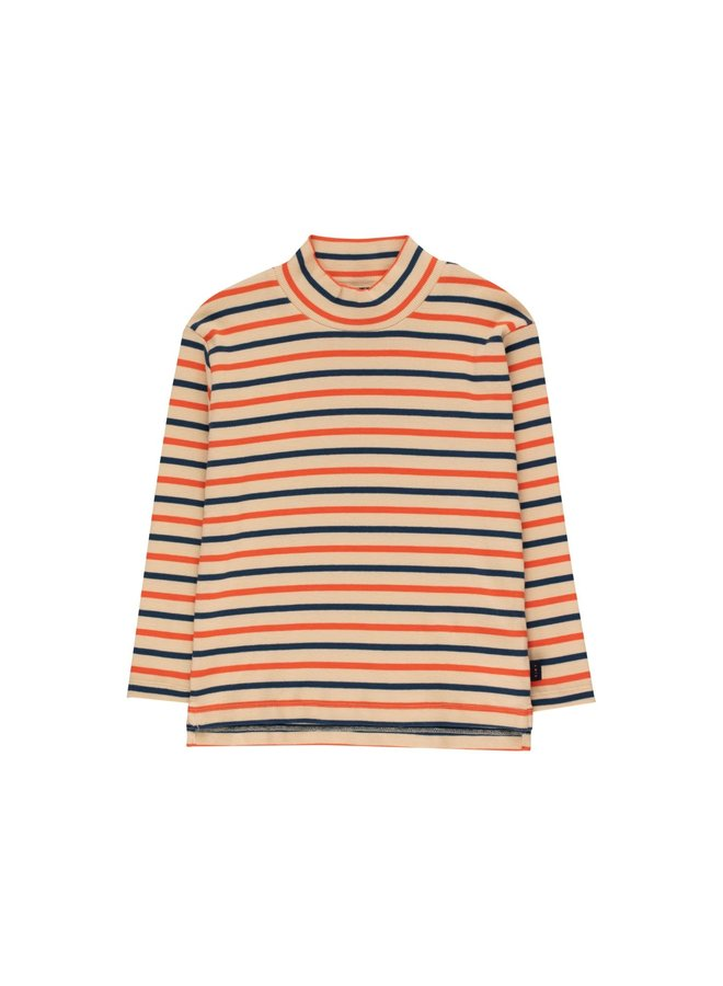 Stripes Mockneck Tee - Cappuccino/Light Navy/Red