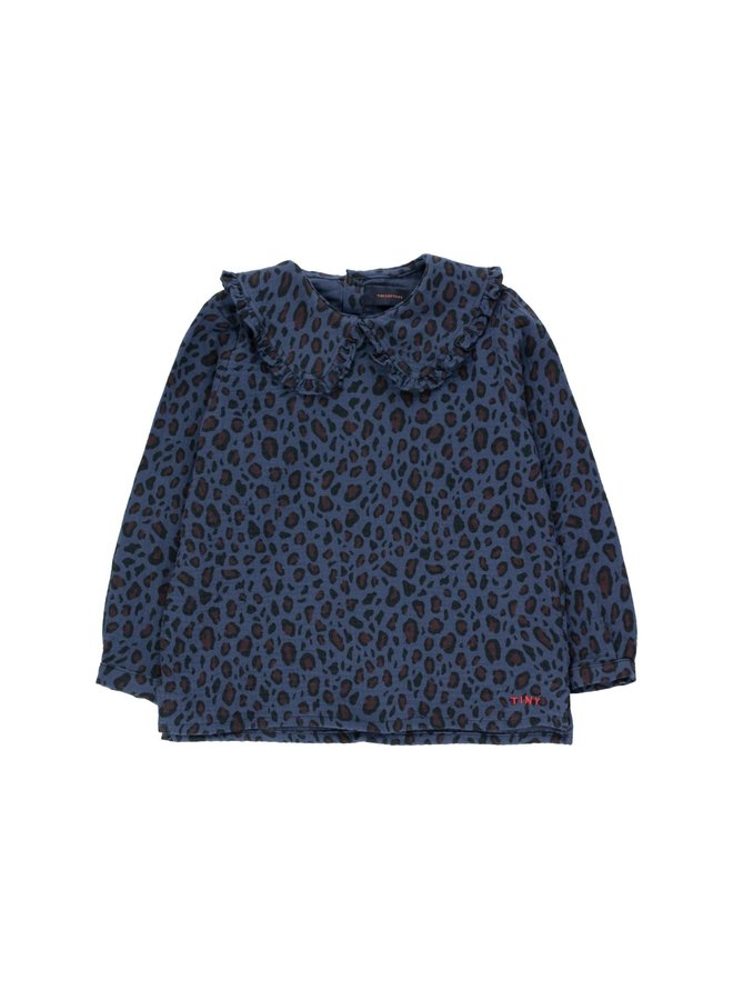 Animal Print Shirt - Light Navy/Dark Brown