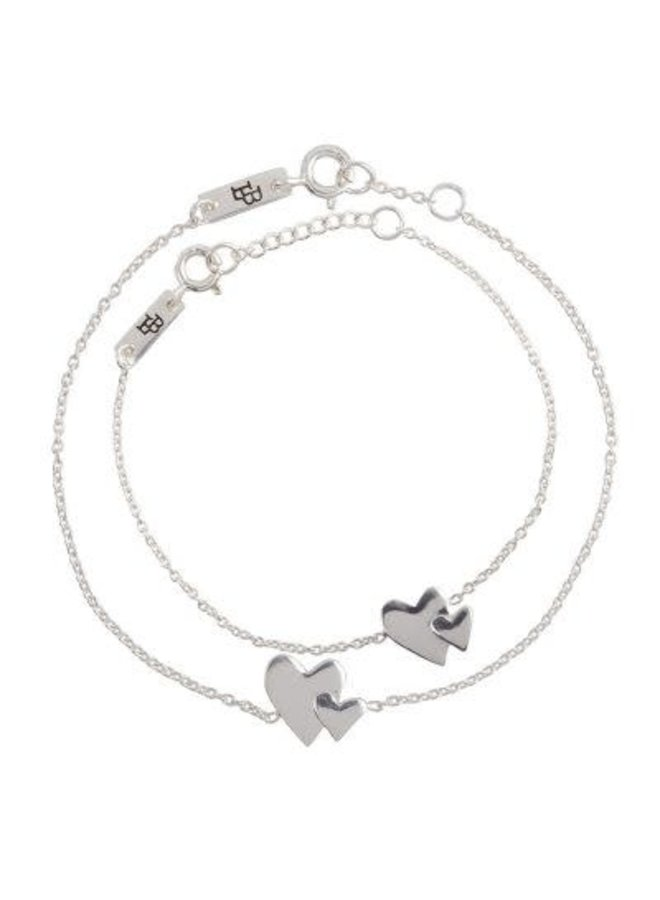 'Our hearts beat as one' Moeder en Dochter Armband Cadeauset - Zilver