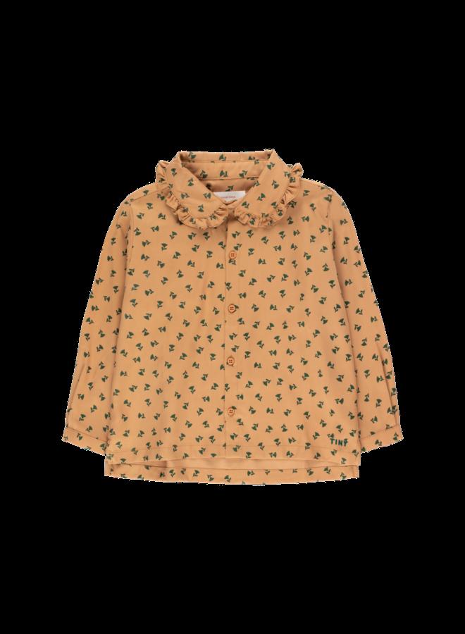 Tiny Flowers Shirt - Light Brown / Dark Green