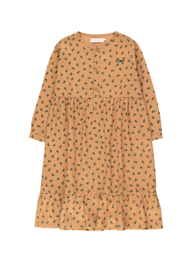 Tiny Flowers Dress - Light Brown / Dark Green