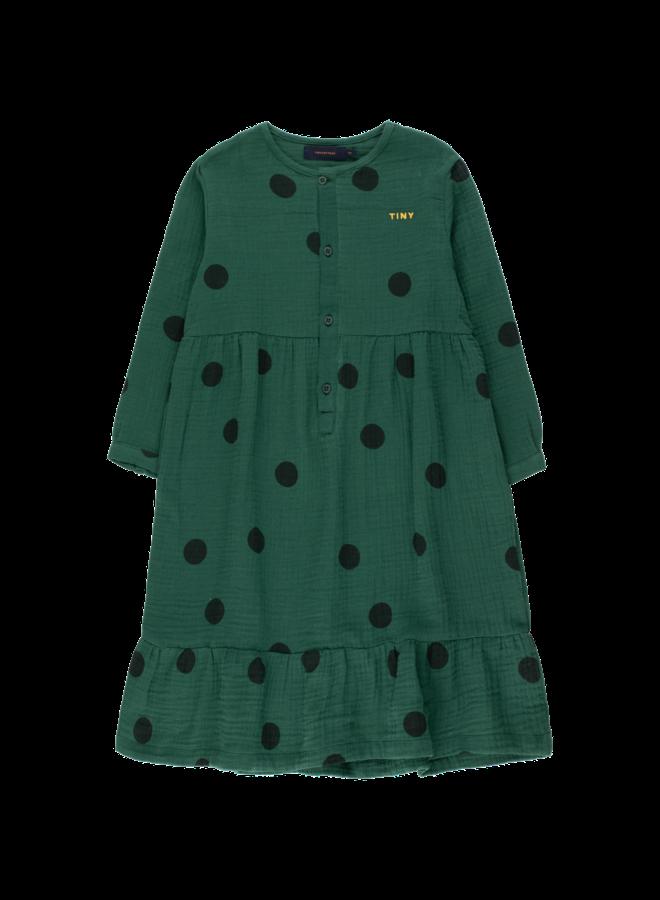Big Dots Dress - Dark Green / Black