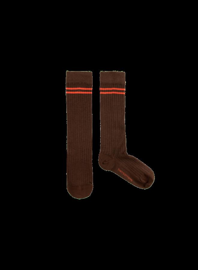 Stripes High Socks - Ultra Brown / Red