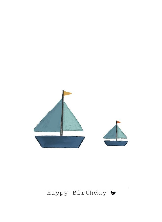 Nadine Illustraties - Kaart - Happy Birthday, boot - A0040