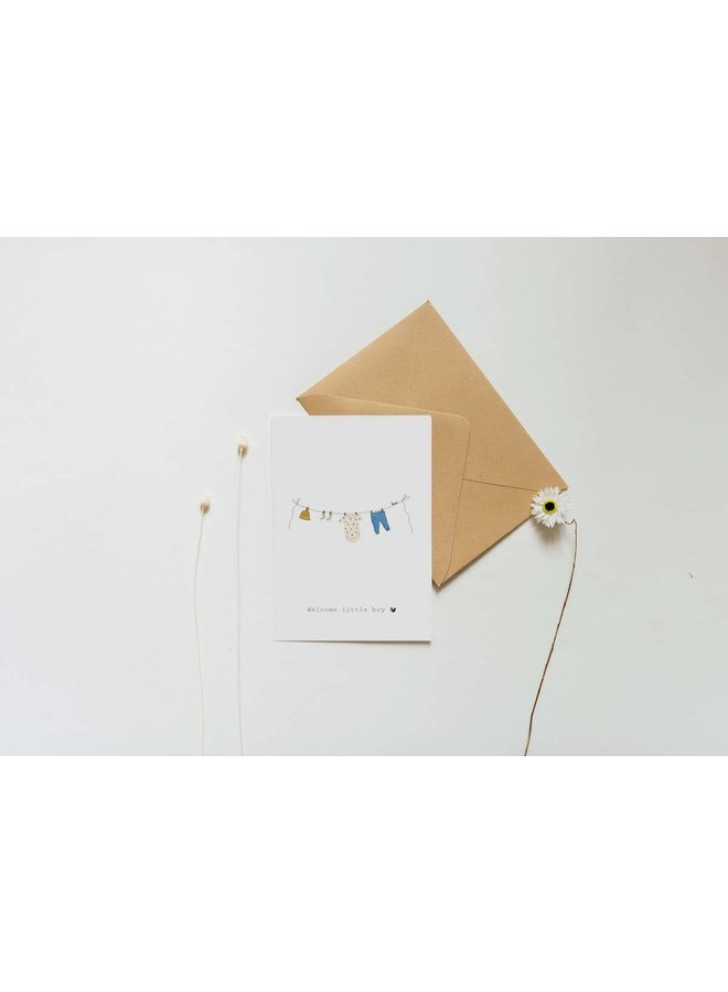 Kaart - Welcome little boy - Waslijn - A0014