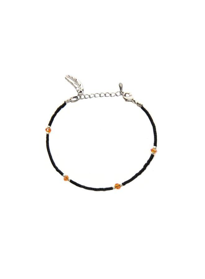 Black Firestone Bracelet Silver