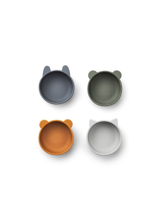 Iggy Silicone Bowls 4 Pack - Blue mix