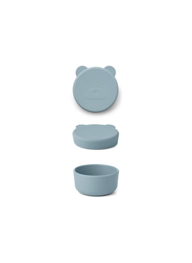 Carrie Snack Box Small - Mr bear sea blue