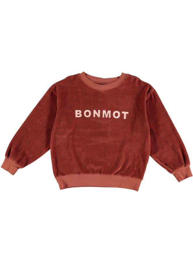 Sweatshirt velvet bonmot - Rust