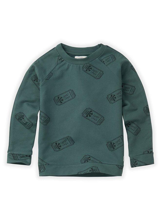 Sweatshirt Raglan Ticket AOP - Dusty Green