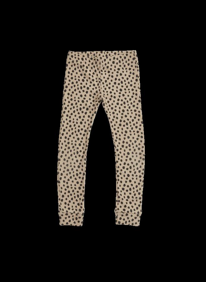 Legging - Rib - Animal Dot - Warm Sand