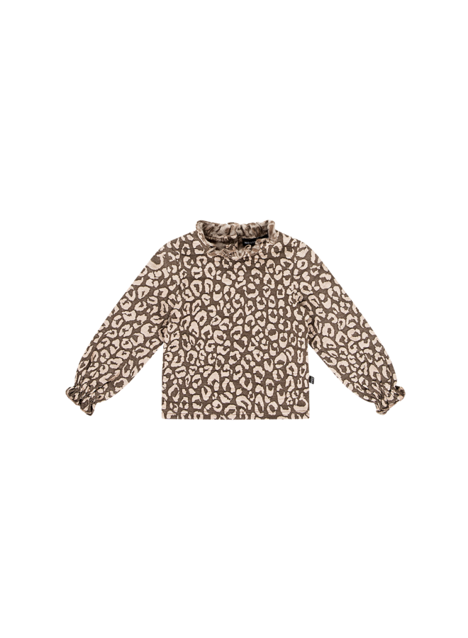 Frill Collar Tee - Rosewood Leopard