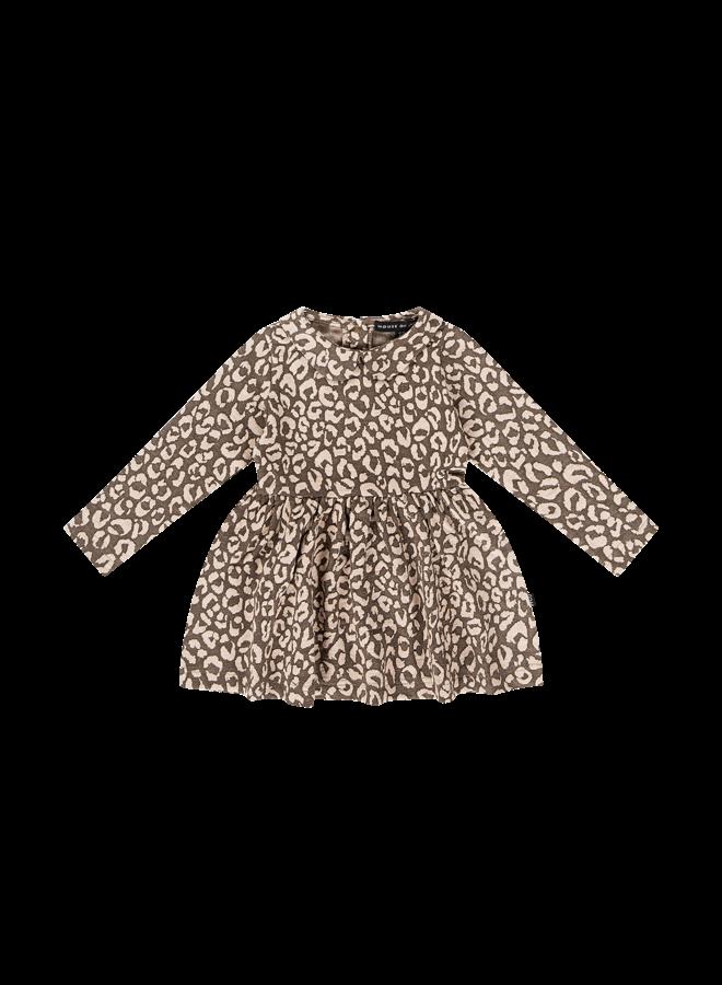 Mid Waist Collar Dress - Rosewood Leopard
