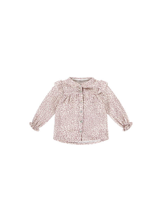 Frill Blouse - Orchid Leopard