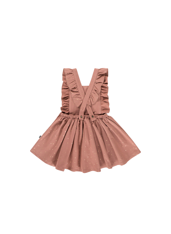Ruffled Salopette Dress - Dusty Mauve Golden Dots