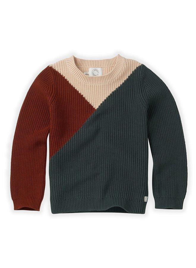 Sweater Colourblock - Dusty Green