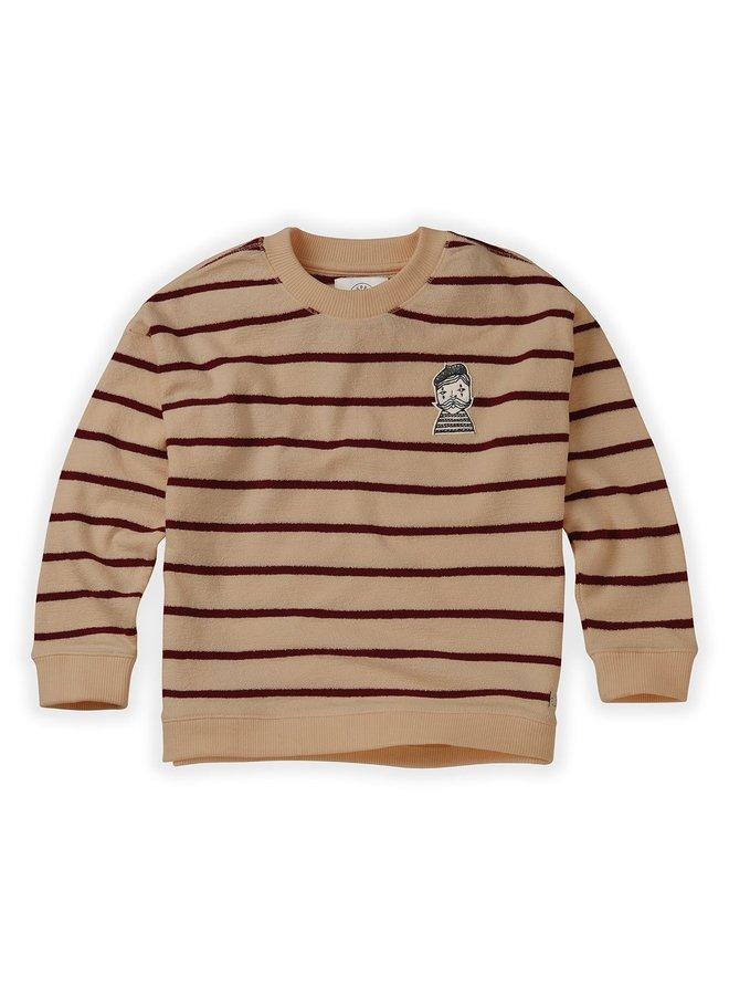 Sweatshirt Loose Stripe - Nougat