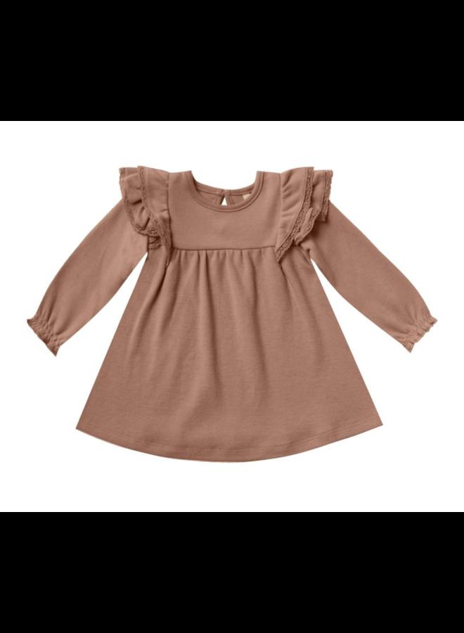 Longsleeve Flutter Dress - Clay