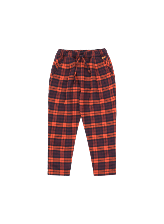 Check Pleated Pant - Navy/Red