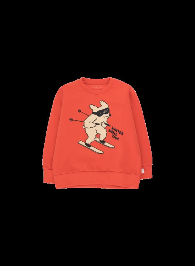 Skiing Dog Sweatshirt - Red/Cappuccino