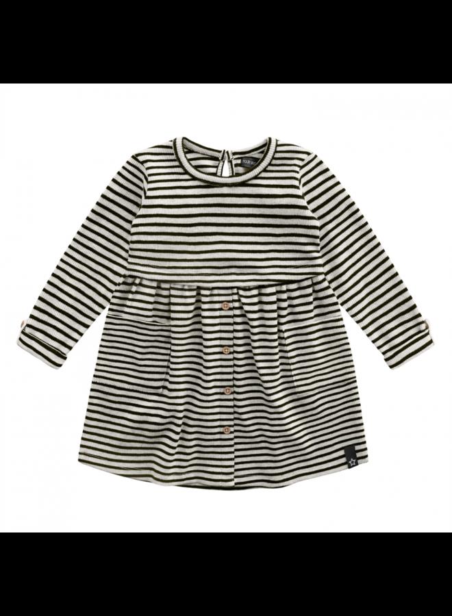 Beige - Stripes - Button Dress - Chalk