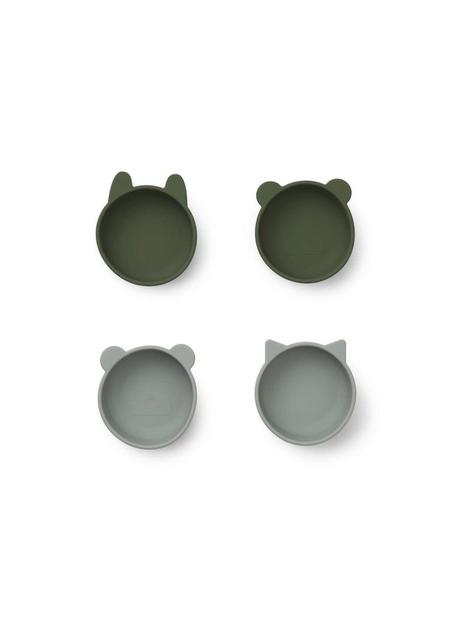 Iggy Silicone Bowls - 4 pack - Hunter green mix