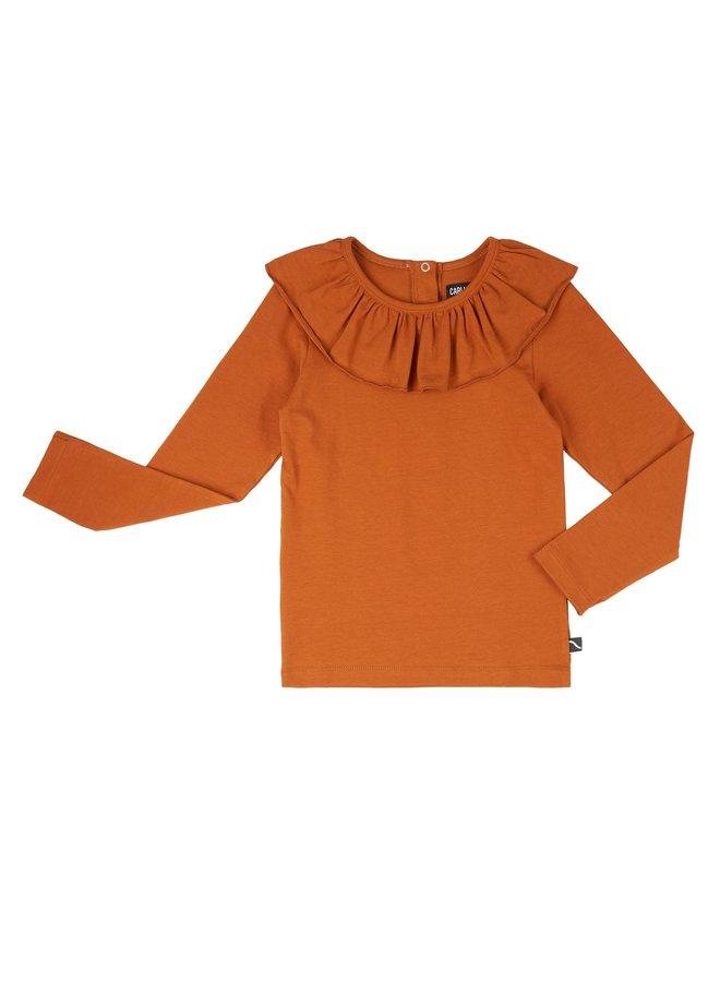 Basics - longsleeve with big collar - cinnamon