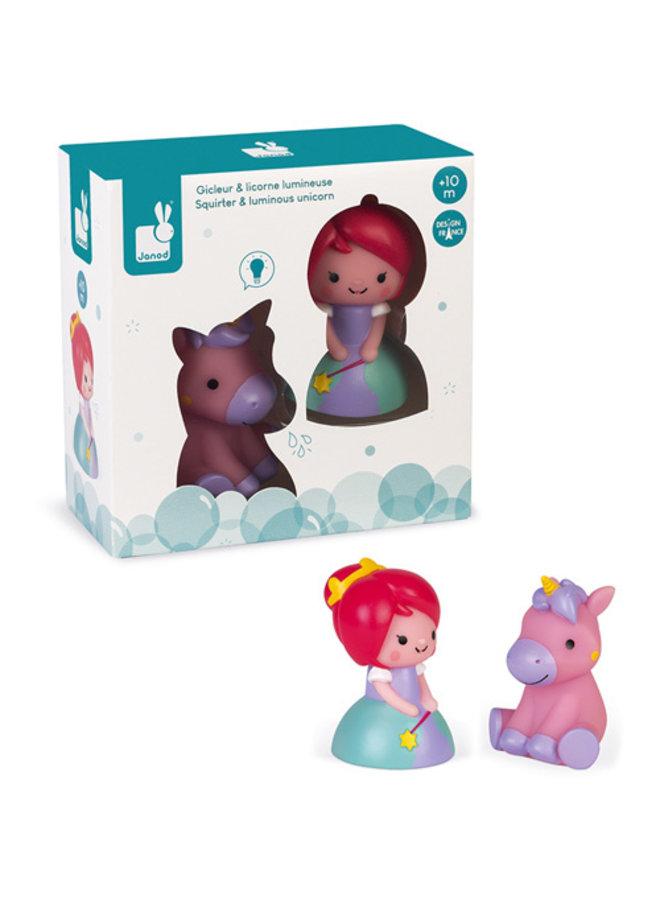 Janod - Badspeelgoed - Spuitfiguur Prinses En Lichtgevende Eenhoorn