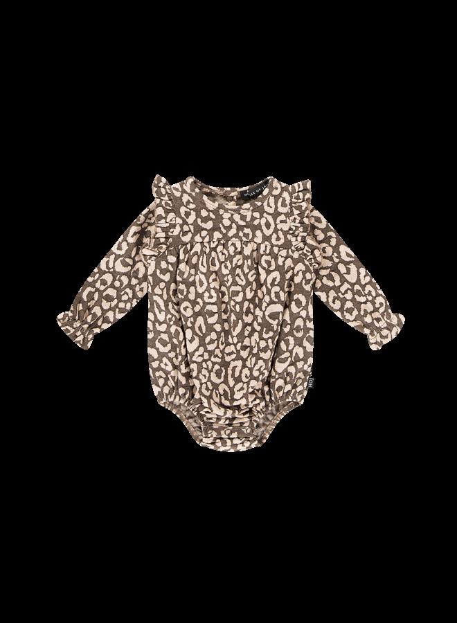 Girls Rompersuit - Rosewood Leopard