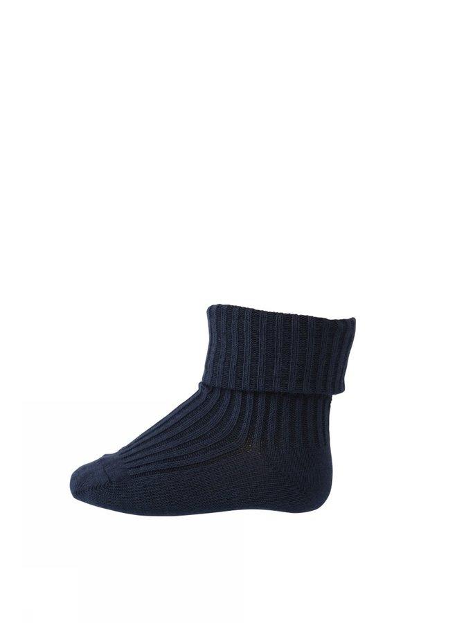 Cotton Rib Baby Socks - 142 - Blue