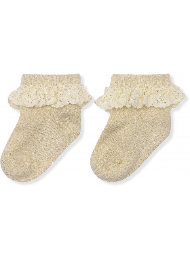 Lace Socks Lurex - Creme