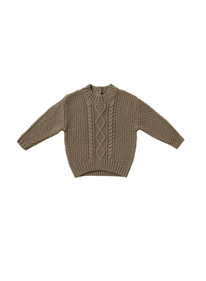 Cable Knit Sweater - Olive
