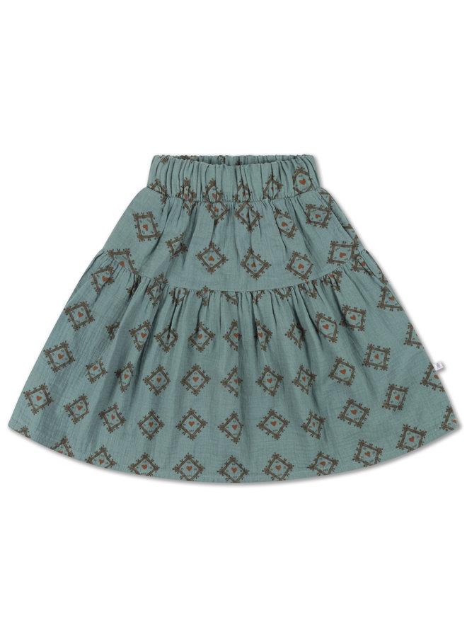 Midi Skirt - Tiles Heart All Over