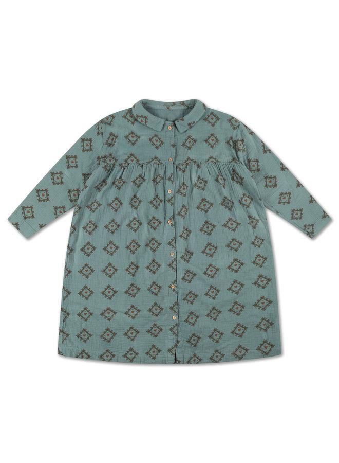 Collar Dress - Tiles Heart All Over