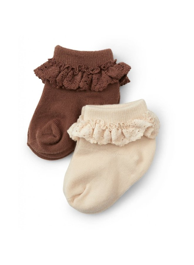 2 Pack Frill Socks - Creme/Choco Bean