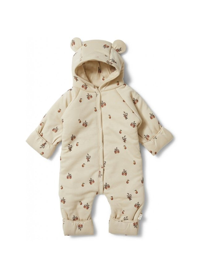 New Born Onesie With Hood Deux - Poire