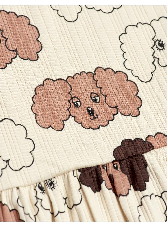 Fluffy Dog AOP Ls Dress - Beige