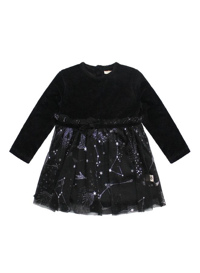 Dark Night - Pleated Tule Dress