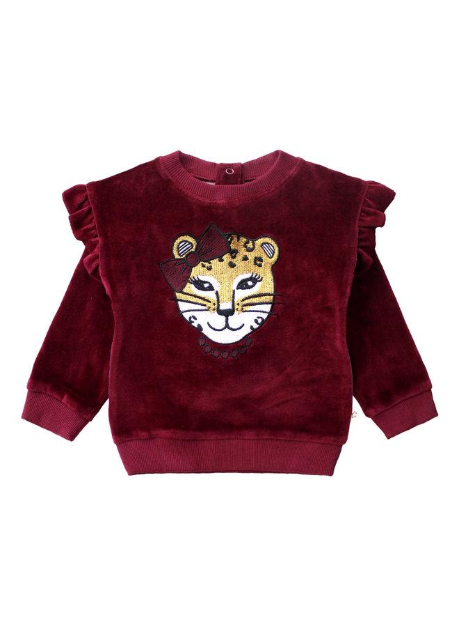 Girly Panther - Ruffle Sweater - Plum