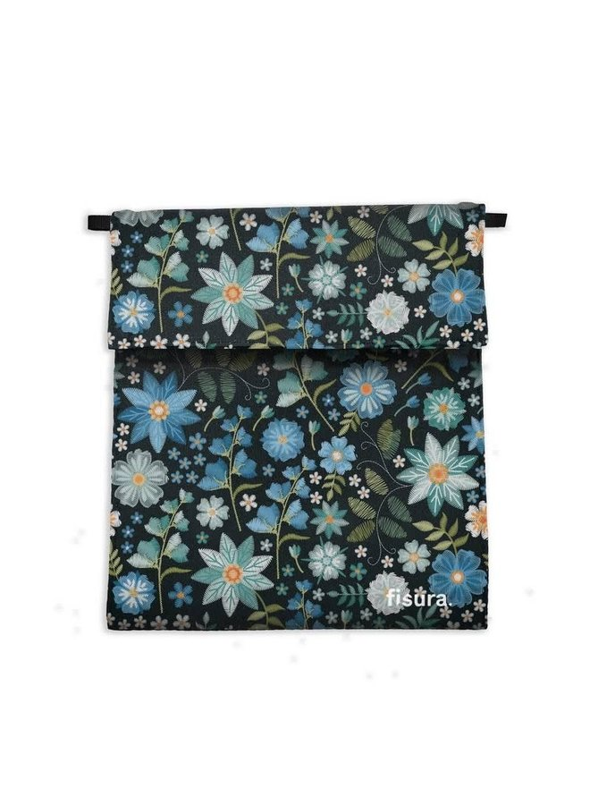 Antiviral-Fabric Mask Bag embroided flowers