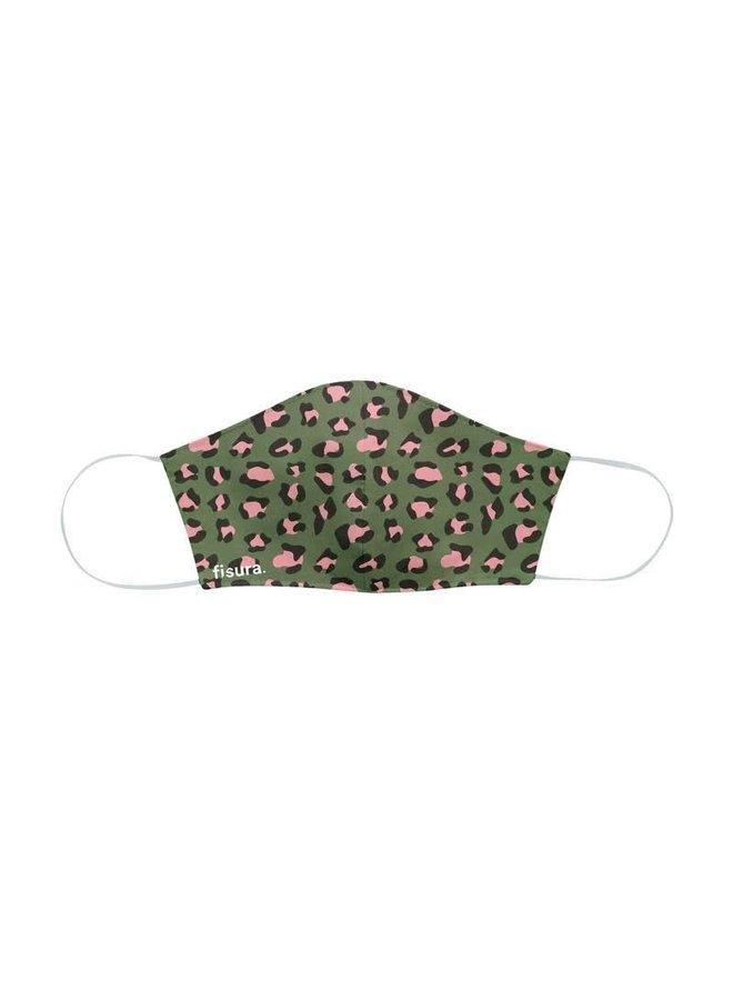 "Mondkapje - Antiviral-Fabric Face Mask ""Green & Pink"" cheetah"