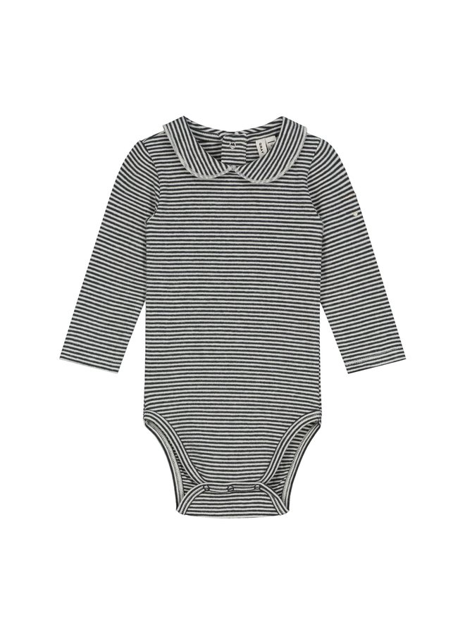 Baby Collar Onesie - Nearly Black / Cream