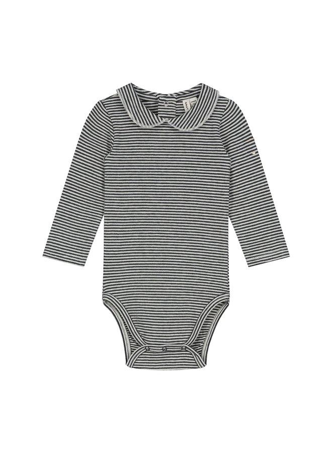 Gray Label - Baby Collar Onesie - Nearly Black / Cream