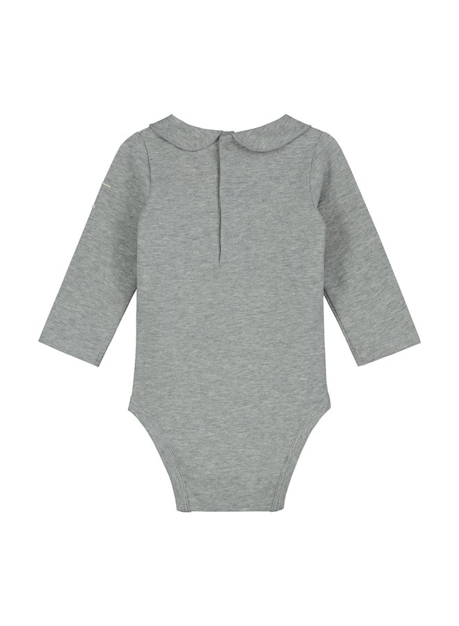 Gray Label - Baby Collar Onesie - Grey Melange
