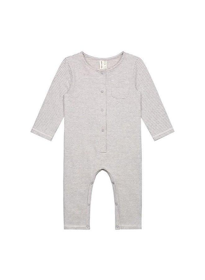Baby L/S Playsuit - Grey Melange Cream