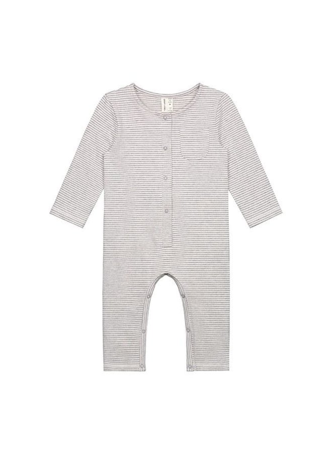 Gray Label - Baby L/S Playsuit - Grey Melange Cream