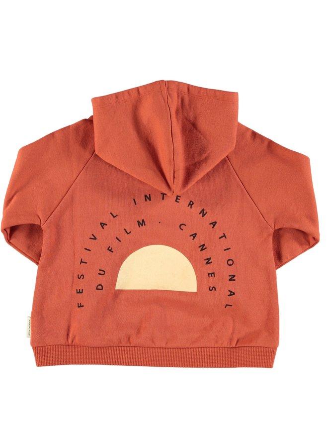 Hooded sweatshirt - garnet w/ print