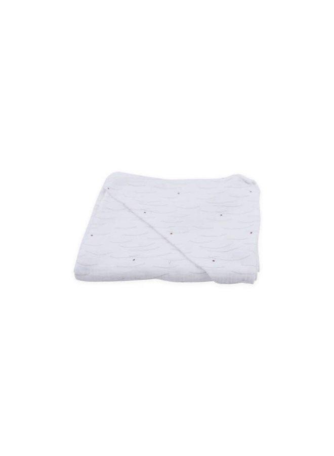 Nanami - Bathcape Mouseline Hills Print - Off White