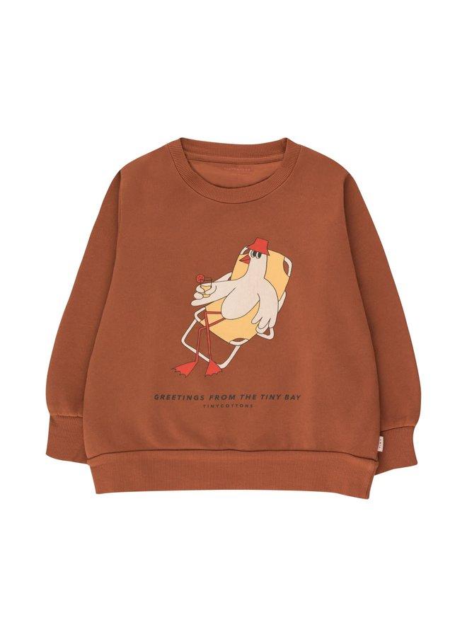 Tiny Cottons - Bird Sweatshirt - Nut Brown Yellow
