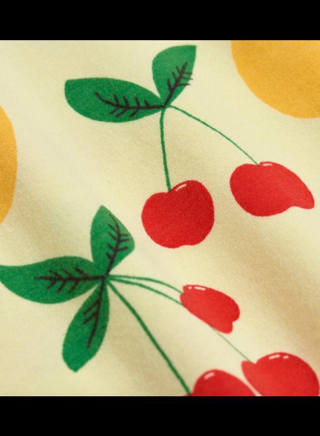 Mini Rodini - Cherry Lemonade aop Ss Tee - Yellow